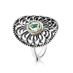 PANDORA two-tone statement ring with synthetic green spinel. $160 #PANDORAring