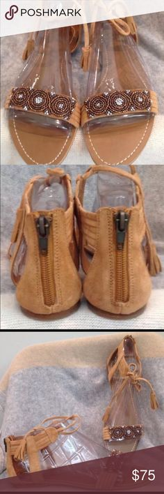 Anthropologie Dolce Vita Briza Sandal Cognac NWOT These fun chic boho suede jeweled sandals are waiting for you! Anthropologie Shoes Sandals