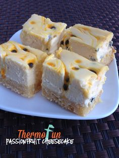 I'm a lover of cheesecake, so I tend to randomly find recipes to try!  This one got my attention purely for the base.  Apart from the cheesecake and passionfruit part of the cheesecake always being a winner – that base well just make it and see!  🙂 This recipe was loved by many on the ThermoFun June...