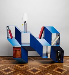 lebanese designer charles kalpakian uses optical illusions to form rocky shelves