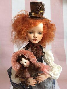 OOAK Polymer Clay Art Doll Steampunk Alice in Wonderland by AltuncuART on Etsy