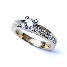 Diamond Solitaire With Channel Set Shoulders Diamond Rings, Diamond Engagement Rings, Gold Rings, Princess Cut, Channel, Diamonds, Handmade, Jewelry, Products
