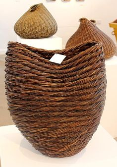 Lise Bech, woven basket sculptures at Home Ground exhibition, Devon Guild of Craftsmen Autumn 2014. From willow grown by her home in Scotland. #nature #craft #weaving #baskets