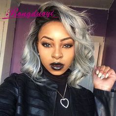 11 Ethereal styles for Girls with Dark Skin ombre hair for black hair - Ombre Hair Wavy Haircuts, Trendy Hairstyles, Wig Hairstyles, Popular Hairstyles, Black Hairstyles, Updo, Short Hairstyle, Silver Ombre Hair, Short Bob Wigs