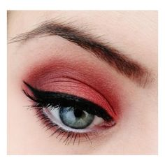 Make-up Artist Me! Daring! Red eyeshadow makeup tutorial ❤ liked on Polyvore featuring beauty products, makeup, eyes, beauty and lips