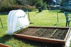How to build a simple hoop house or cold frame that glides open and closed. Great for growing vegetables early in the year - or for keeping snails and slugs off your tender salad plants. Raised Garden Beds, Raised Beds, Raised Gardens, Farm Gardens, Outdoor Gardens, House Gardens, Small Gardens, Modern Gardens, Cottage Gardens