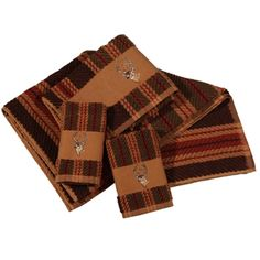 Delectably-Yours.com Stripe Embroidered Deer Bath Towels