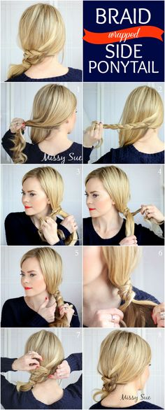 Cute & Easy Braid Wrapped Side Ponytail Tutorial - 11 Runway-Ready Ponytail Tutorials for Every Occasion – GleamItUp Side Ponytail Hairstyles, Side Braid Ponytail, Quick Hairstyles For School, 5 Minute Hairstyles, Prom Hairstyles For Long Hair, Teen Hairstyles, Side Ponytails, Hair Styles For Long Hair For School, Side Braids For Long Hair