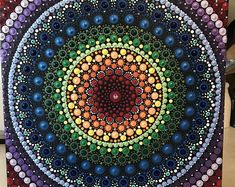 This is a (approximately canvas. Painting are all in dots. Finished spray with krylon UV resistant clear acrylic coating. Mandala Art, Fair Lawn, Dot Art Painting, Clear Acrylic, Photo Art, Original Paintings, Etsy Seller, Dots, Tapestry