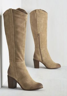 You're in the midst of your best style era yet, and these knee-high boots by BC Footwear only enhance the epoch! Tan in tone, with stylishly distressed toes and counters and faux-stacked heels, this vegan faux-suede style is slated to be the star of many an ensemble.