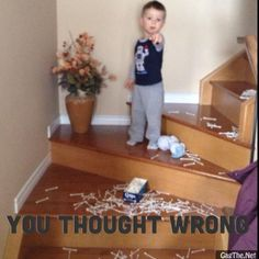 I thought I could leave the Q-Tips on the stairs and put them away after my sons nap.