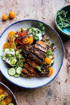 Garlic, lemon juice, oregano, and balsamic are key in this Mediterranean-inspired bowl. Recipe here.