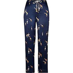 Blue giraffe print satin pajama pants