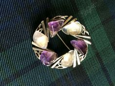 Scottish silvertone Brooch with faux amethyst & quartz stones Scottish Costume, Amethyst Quartz, Quartz Stone, Costume Jewelry, Brooches, Stones, Ebay, Rocks, Brooch