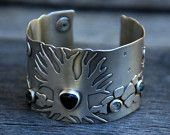 SALE Moonlit Path - spectrolite, moss agate and sterling silver cuff
