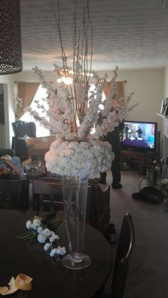 First Draft of Centerpieces... Need Opinions :  wedding blossoms branches diy flowers ivory pomander tall centerpieces Centerpiece2