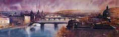 Watercolor, Bridqe of Praque,101x33 cm