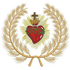 MOLDURA E SAGRADO CORAÇÃO DE JESUS Towel Embroidery, Machine Embroidery, Jesus E Maria, Sagrada, Sacred Heart, Santos, Corpus Christi, Blessed, Decoupage