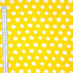 Pilkut keltainen, kotimainen luomupuuvillaneulos / Dots organic cotton jacquard knit in yellow / Käpynen