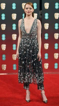 a235e81546b Emma Stone in a Chanel dress over pants - click ahead for more best dressed  at the 2017 BAFTA awards
