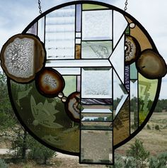 """Stained Glass Window """"HOPI BUTTERFLY """" Sandcarving, Brazilian Agates, Beveling, Contemporary Southwest, Stained Glass Panel"""