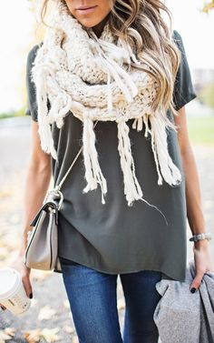 Ivory Knit Scarf - Long