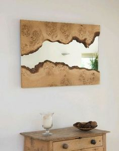 Natural edge wood framed mirror - live edge wood slabs are available at… Spiegel Design, Wood Framed Mirror, Mirror Set, Wall Mirrors, Bathroom Mirrors, Mirror Ideas, Framed Wall, Wall Art, Jeep Mirrors