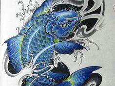 blue and black koi fish tattoo - Google Search