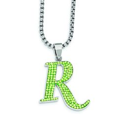 REMINGTON stainless steel green crystal R pendant. Rem-Gem Collection by Hunter's Jewels. Officially licensed product.
