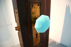 Blue doorknobs