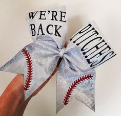 WE'RE BACK PITCHES SOFTBALL BOW CHEER TEAM HOLOGRAPHIC SPANDEX