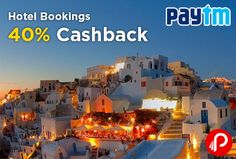 Paytm offers 40% Cashback on all Hotel Bookings. Maximum Cashback of Rs. 10000. Search over 1000+ destinations for your travel dates, choose a hotel of your preference and book hotel online in minutes. View hotel location, photos, room options, prices for various hotels online, pick as per your comfort and book according to your choice.   http://www.paisebachaoindia.com/hotel-bookings-40-cashback-paytm/