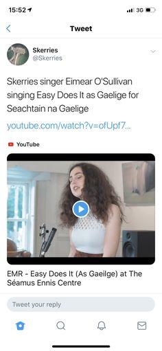 EMR sings Easy Does It in Gaelic Watch V, Singing, Board, Easy, Youtube, Sign