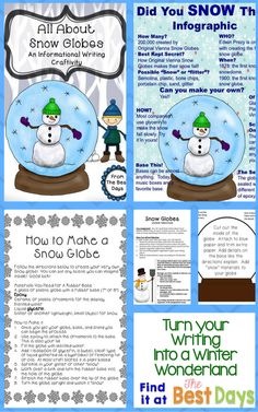Are you ready to infuse some fun into your writing classroom?  This is a great way to write, create, and have some fun too!  Read 3 different passages about snow globes, write to inform, and create a snow globe to display all while practicing for high stakes testing!  Find it now at The Best Days!