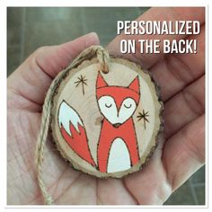 Personalized wood Christmas ornament fox ornament by MalamiStudio