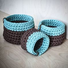 New baskets available on our Etsy shop! Новые корзинки доступны для заказа! #KnitKnotKiev #crochet #zpagettiyarn #zpagetti #tshirtyarn #basket #baskets #crochetbasket #handmade #madeinukraine