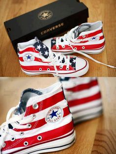 red, white and blue high-top Converse All Stars. Love these Converse. Converse All Star, Converse Shoes, Converse Style, Converse Classic, Blue Converse, Custom Converse, Nike Sneakers, Chuck Taylors, Cute Shoes