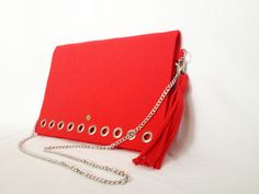 GlamFelt clutch bag with chain and key ring red http://totostyle.pl/