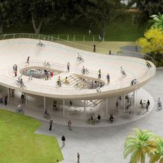 Bicycle Club by NL Architects. #Architecture When asked to draw up plans for a cycle-hire shop in southern China, Dutch studio NL Architects thought it would be fun to put a velodrome on the roof
