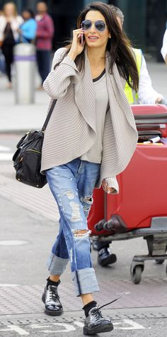 Looks so comfy...oversized cardigan, distressed boyfriend jeans, metallic brogues, and aviators.