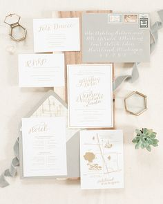 Romantic Gold Foil Wedding Invitations
