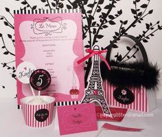 Paris Party Hot Pink Invitation and Kit, Printable Decoration Supplies for Birthday Girl - Printable Party Kit -You type in the text 1070