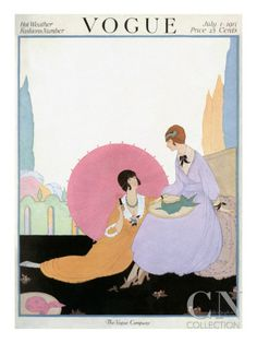 Published July 1, 1917  The July 1, 1917, Vogue cover featured a Helen Dryden fashion illustration of two young women lounging in a garden, their long, full skirts flowing around them. One holds a pink parasol to block the sun, since her hat has blown a few feet away on the lawn.