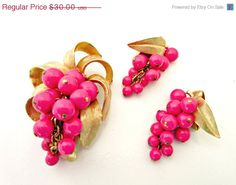CIJ sale Pink Grape Cluster brooch and by serendipitytreasure
