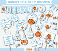 Blue Basketball Baby Shower Decorations by PixieBearParty on Etsy…