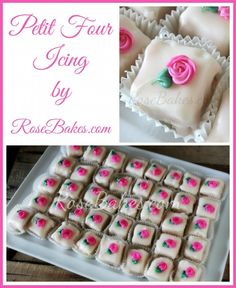 Petit Four Icing (aka Poured Fondant) - Rose Bakes Cupcakes, Cake Cookies, Cookies Et Biscuits, Cupcake Cakes, Fondant Cakes, Mini Desserts, Just Desserts, Petit Four Icing, Petit Four Glaze Recipe