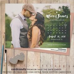 Fiche de Save-The-Date de calendrier, Save The Date Postcard, Save The Date…