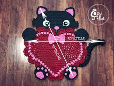 READY TO SHIP Kitty Love Rug. Hand Crocheted. Only One