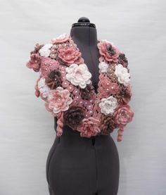 Crochet Warm scarf Tippet Gentle Rose Pink, Chocolate , White Candy Flowers - Free Shipping ETSY