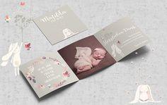 Baby- & Geburtskarten - Dankeskarten Danksagung Geburt, mit Foto - ein Designerstück von SomethingCute bei DaWanda